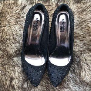 Embellished Black Heels